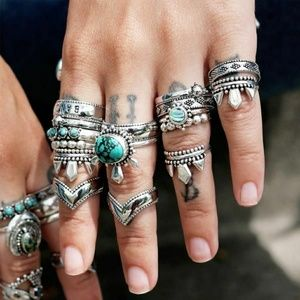 Boho turquoise ring set 2 dixi the west Is calling